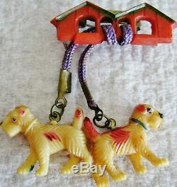 15 Vintage Terrier Dog Pins Scottie Westie Airedale Wire Hair Wood Bakelite Plas