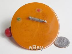 1930 1940 Huge Vtg Bakelite Butterscotch Marbled Hat Brooch Pin with Cherries