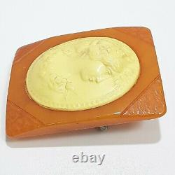 1930's Vintage Butterscotch Bakelite & Ivory Color Celluloid Cameo Brooch Pin