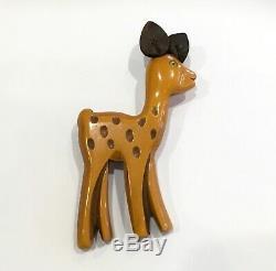 1930s Bakelite Vintage Martha Sleeper Large Doe Deer Fawn Animal Pin Brooch Vtg