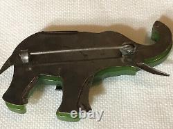 1930s Vintage Antique Rare Green Bakelite With Metal Elephant Pin