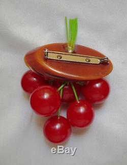 1940s Vintage BAKELITE Dangling Red CHERRIES Brooch Pin FRUIT