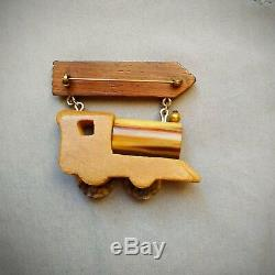 1940s Vintage BAKELITE and WOOD Dangling CHATTANOOGA Train Brooch Pin