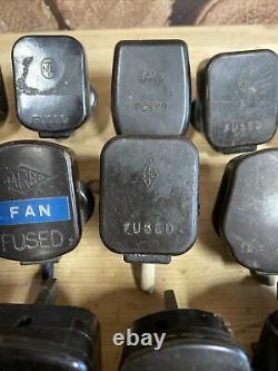 24 X Vintage Brown Bakelite 13 Amp 3 Pin Mains Plug