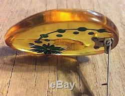 2 Vintage Bakelite Celluloid Apple Juice Pin Brooch Set Reverse Carved Asters