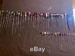 44 Lot Antique Vintage HATPINS STICK PINS Blown Glass Cloisonné Bakelite Modern