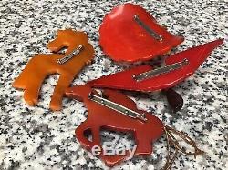 (4) Original 1940s Antique Vintage Bakelite Pin Lot Airplane Pony Jockey & Hat