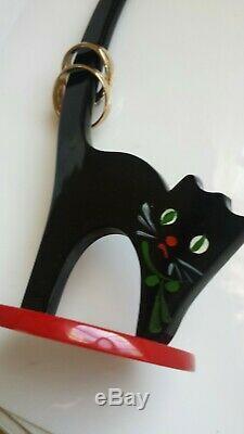 ADORABLE RARE VINTAGE 1940s RED & BLACK BAKELITE CAT RING HOLDER PIN UP VLV