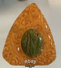 AMAZING Carved Vintage Bakelite Buckle and Pin