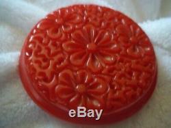 AMAZING vintage CARVED & PIERCED RED BAKELITE large PIN & wide BANGLE SET