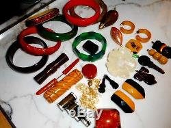 AWESOME BAKELITE COLLECTION Vintage Bangle Bracelets Pins Earrings & MORE
