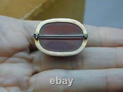 Antique 10k Gold Cherry Amber Bakelite Pin ESTATE PIECE