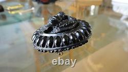 Antique Mourning Faux Ebony Black Carved Cameo Bakelite Brooch Pin Restored