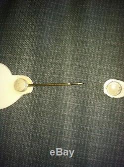 Antique Rare Pearlized Rhinestone Lapel Hat Pin Estate Jewelry Brooch