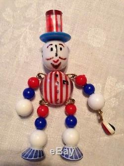Antique Vintage Bakelite Uniique Brooch Pin Jointed Figure Uncle Sam/Patriotic