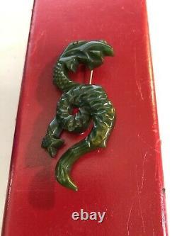 Antique Vintage Carved Dragon Bakelite Pin Brooch Figural Rare Estate Piece