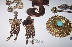 Antique & Vintage Jewelry Lot Stick Pin Fur Brooch Gun Earrings Bakelite Buckle