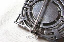 Antique ornate Art Deco sterling silver bakelite marcasite stone brooch pin