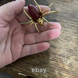 Antique vintage figural 3d dark red bakelite spider pin rare great condition