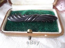 Antique vintage old jet black carved Bakelite bar brooch pin