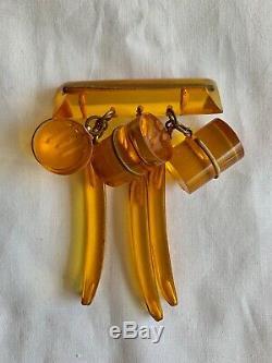Apple Juice Bakelite Jewelry Brooch Pin 1950s Golden Color Vintage 00493
