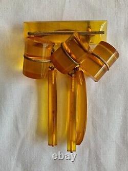 Apple Juice Bakelite Jewelry Brooch Pin 1950s Golden Color Vintage