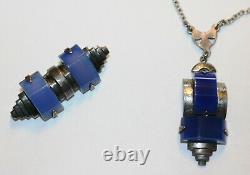 Art Deco Jewelry Bakelite And Silver Necklace & Matching Pin Bengel Lower Price