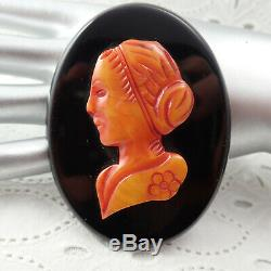 Art Deco Vintage 3 1/8 Black Red Bakelite Cameo Figural Oval C Clamp Pin Brooch