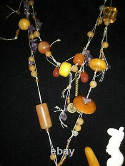 Awesome Vintage Bakelite Jewelry Lot Necklaces Pins Earrings Bracelets 10 Pieces