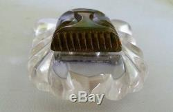 Aztec FACE Carved GREEN Brown BAKELITE & Lucite VINTAGE 40's TESTED! Brooch PIN