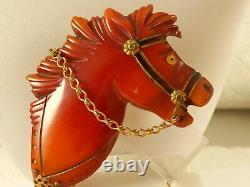 BAKELITE Carved HORSE PIN Vintage BROOCH Metal BRIDLE ROSETTE Ornate CHUNKY