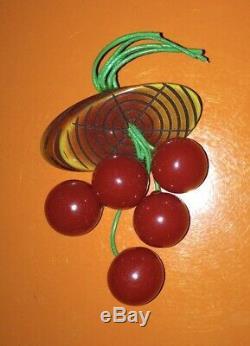 BAKELITE Vintage 1930'S Dangling Cherries on Carved Wood Brooch metal latch pin