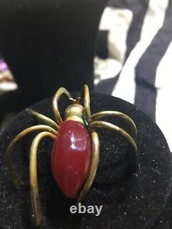 BAKELITE Vtg Brass 1930 Spider Pin Cherry Body