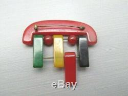 BIG Vintage 30s 40s ART DECO MODERNIST 4 Color Geometric BAKELITE Brooch Pin EUC