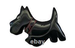 Bakelite Ann Taylor Vintage Scottie Dog Pin Brooch Black With Red Collar Rare