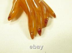 Bakelite Apple Juice Butterscotch Carved Hand Brooch Pin Bracelet VTG Jewelry