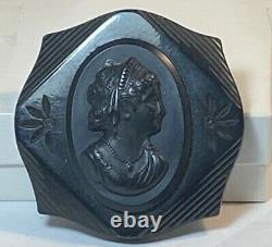Bakelite Black Carved Oversized Cameo Fancy Lady in Jewelry Pin Vintage Antique