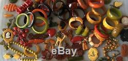 Bakelite Brooch Pin Bracelet Set Butterscotch Brass Vintage RARE