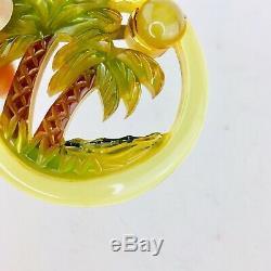 Bakelite Brooch Pin Palm Trees Moon Sun Mountains Water Ocean Vintage Retro