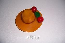Bakelite Butterscotch Hat Brooch Pin with Cherries Vintage Unusual