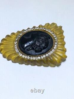 Bakelite Cameo rhinestone vintage pin brooch