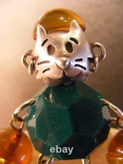 Bakelite Figural Pin Vintage 1950s Apple Juice OOAK Sterling Silver Kitty Cat