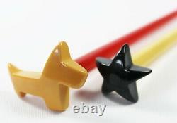 Bakelite Hair Sticks Scottie Dog Star Set Hair Pins Rare
