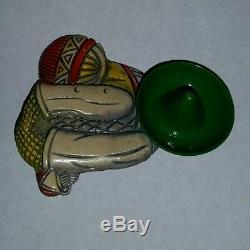 Bakelite Mexican Siesta Vintage Pin Brooch Carved Painted Figure Rare