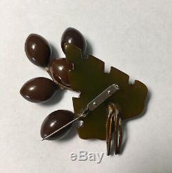 Bakelite Olive Pin Fruit Brooch vintage Dangle 40s