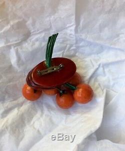Bakelite Oranges Fruit Pin Brooch vintage Dangle 40s