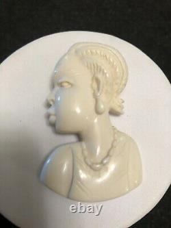 Bakelite Vintage Brooch / Pin Of A Woman In Profile Great Detail