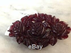 Bakelite Vintage Carved Flower Pin 916