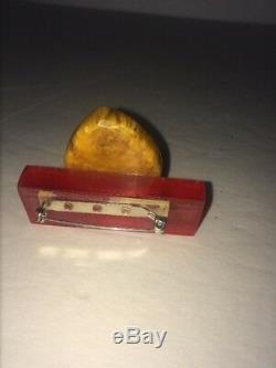 Bakelite Vintage Humpty Dumpty Pin Acrylic 3-D