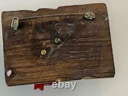 Bakelite Vtg Frog Wood Log Brooch Pin Cherry Red Deep Carved Tested Crystal Eyes
